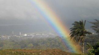 Vista de arco iris, clima.